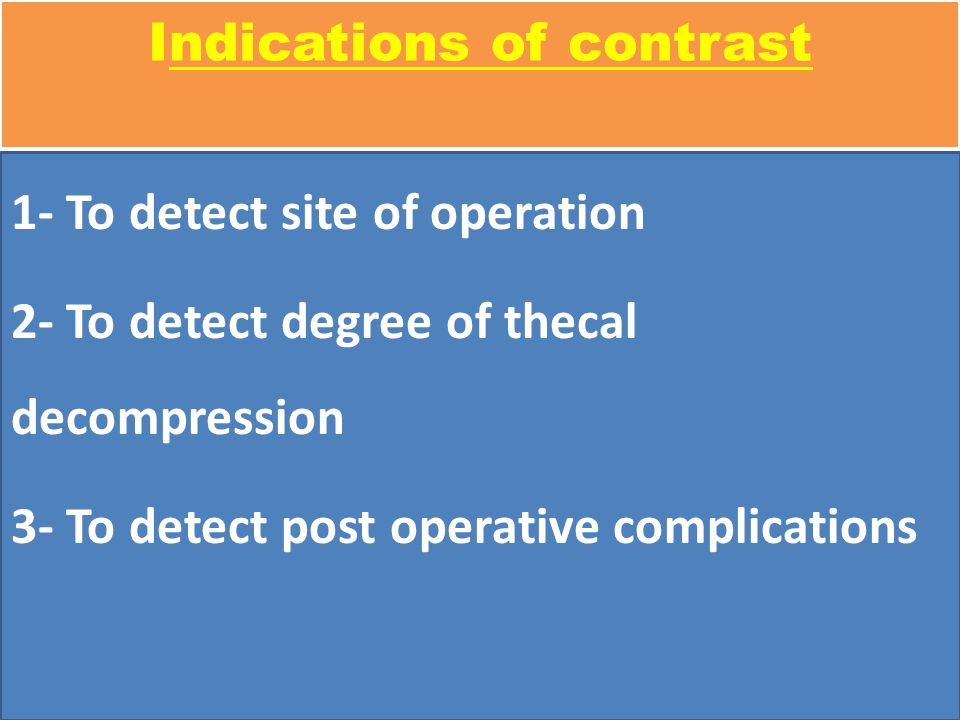 Indications of contrast