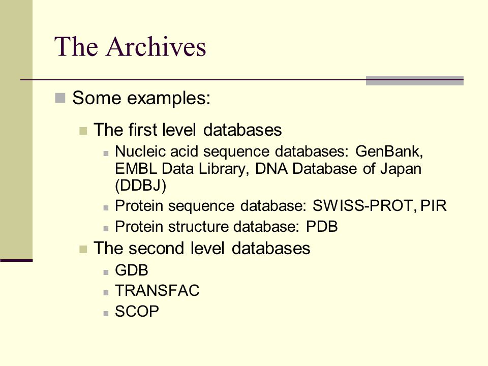 The Archives Some examples: The first level databases
