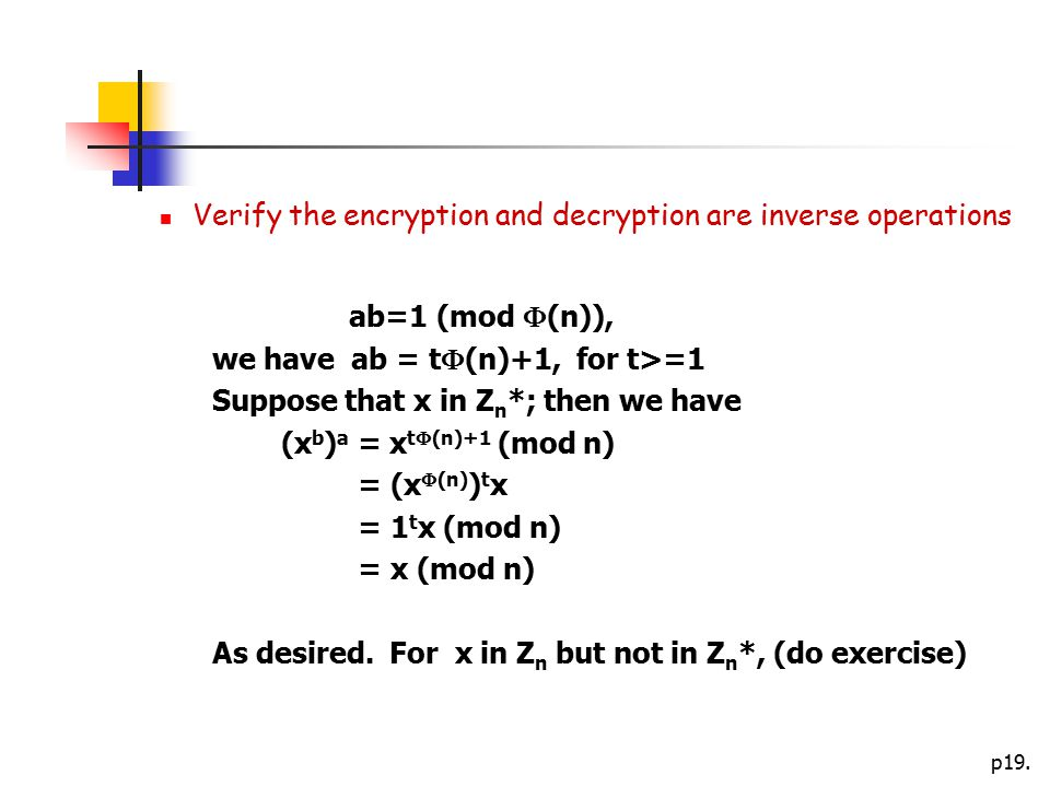 Verify the encryption and decryption are inverse operations