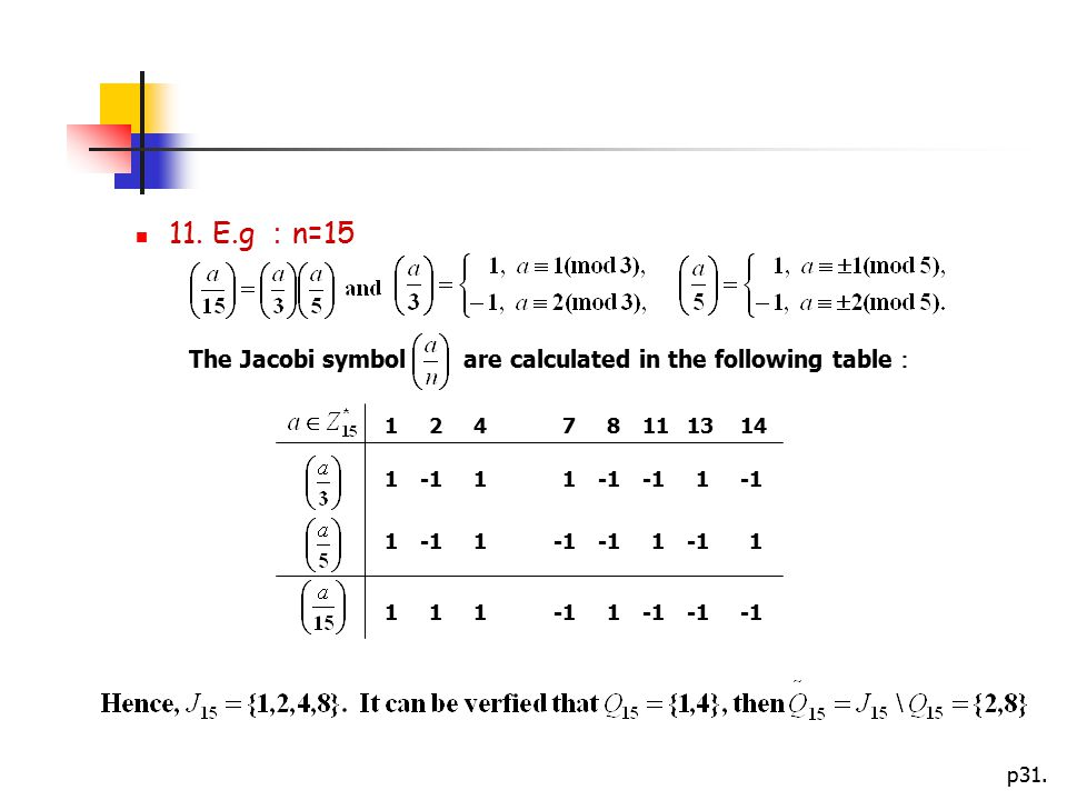 11. E.g :n=15 The Jacobi symbol are calculated in the following table: