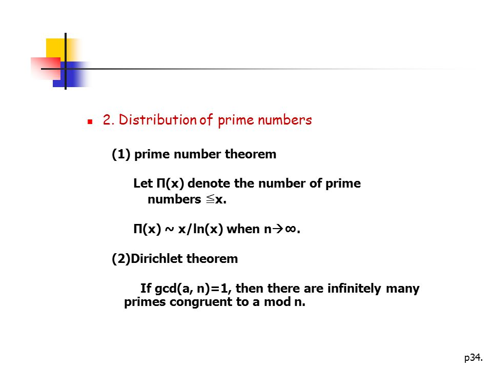 2. Distribution of prime numbers