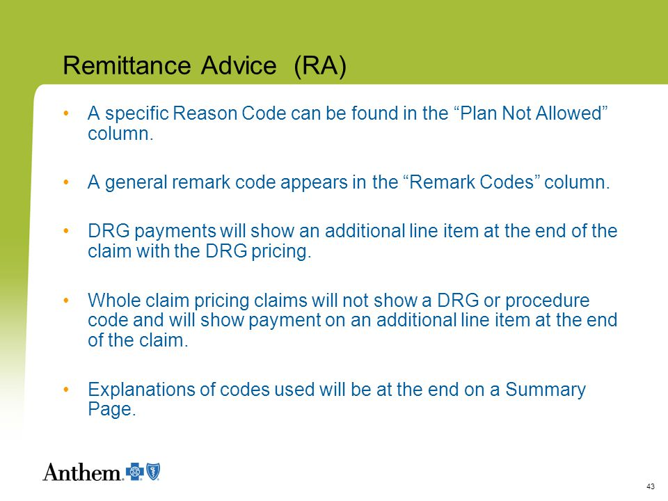 remittance advice codes