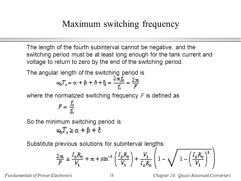 Maximum switching frequency
