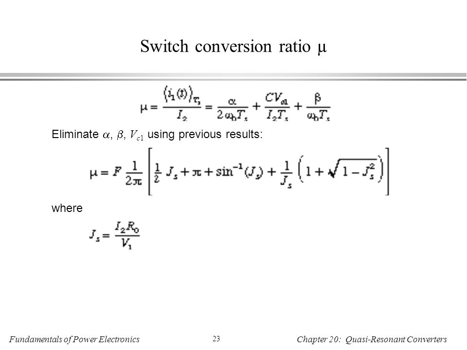 Switch conversion ratio µ