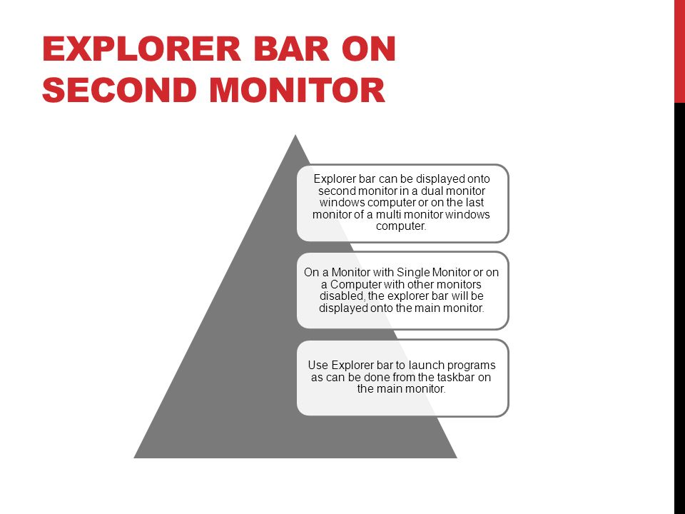 Explorer Bar on Second Monitor