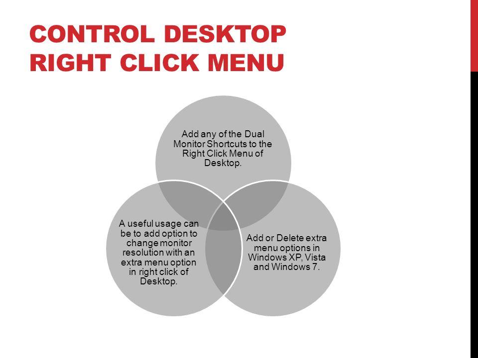 Control Desktop Right Click Menu