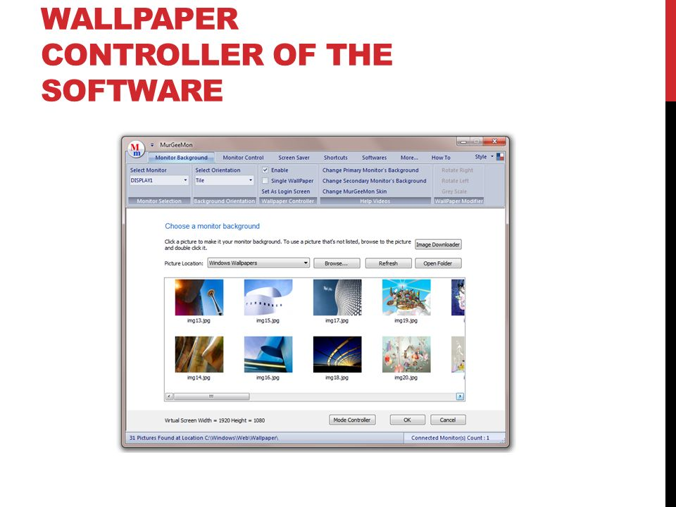 Wallpaper Controller of the Software