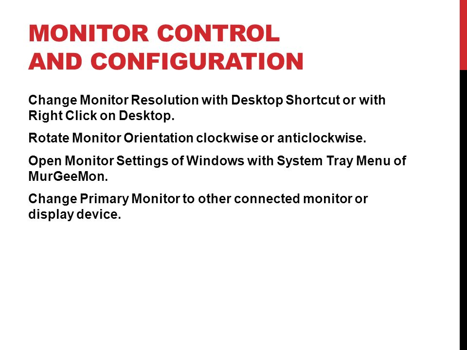 Monitor Control and Configuration