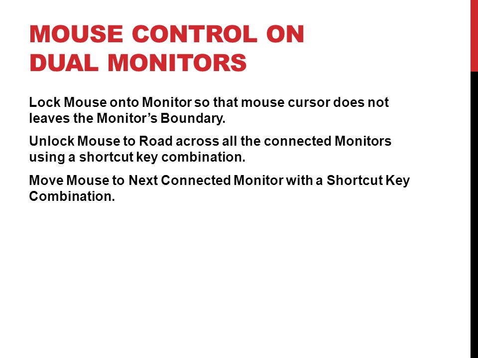 Mouse Control on Dual Monitors