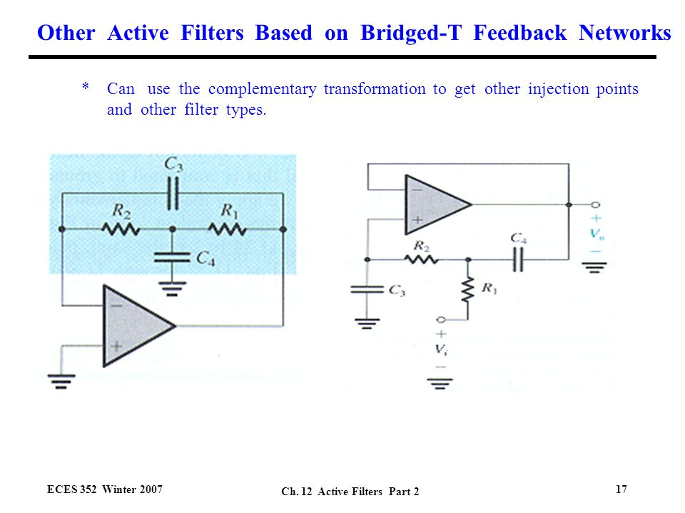 second order active filters based on bridged t networks Active Filter Design Active and Passive Filters