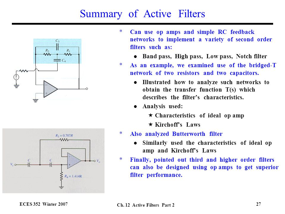 optional circuit that implements a second order highpass Active Band Pass Filter Second Order Active Filters