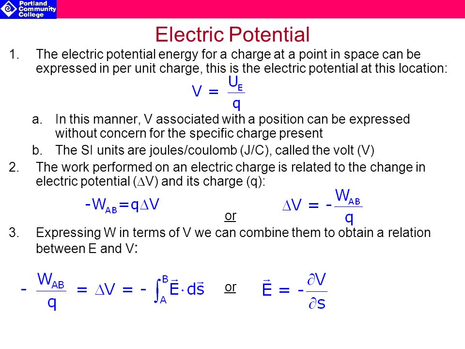 how to solve change in electric potential in volts