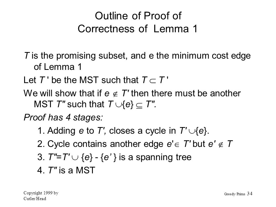 Outline of Proof of Correctness of Lemma 1