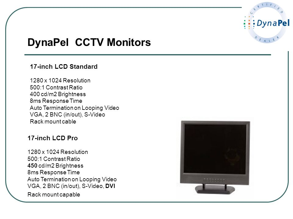DynaPel CCTV Monitors 17-inch LCD Standard 17-inch LCD Pro