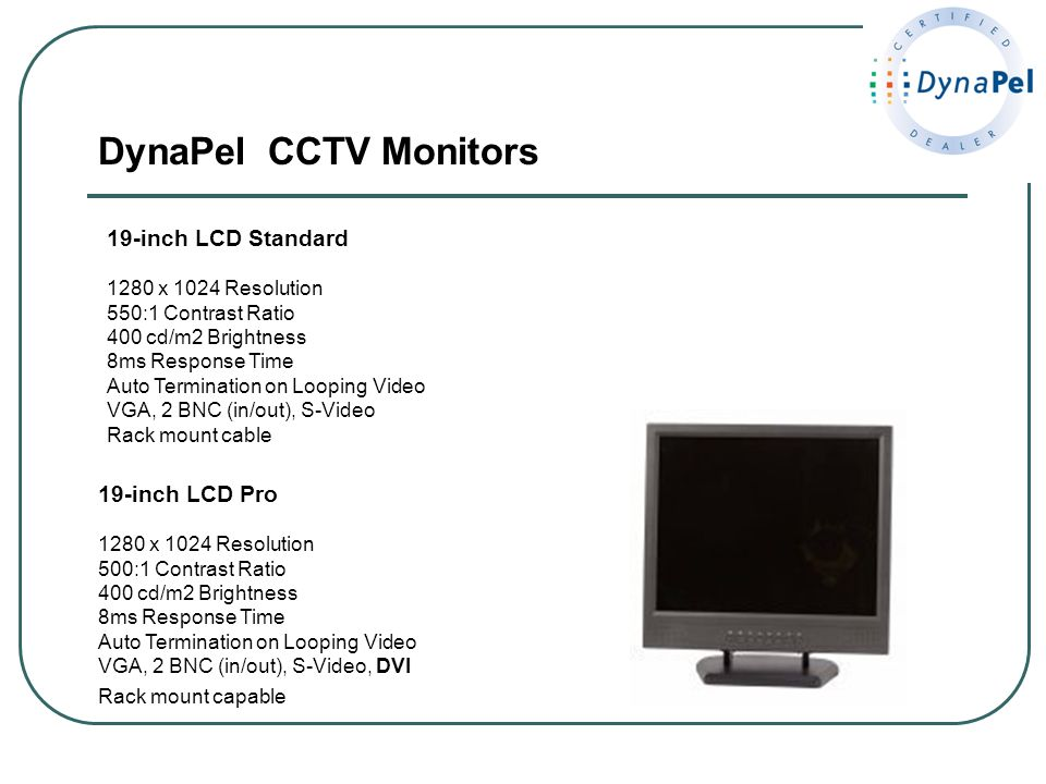 DynaPel CCTV Monitors 19-inch LCD Standard 19-inch LCD Pro