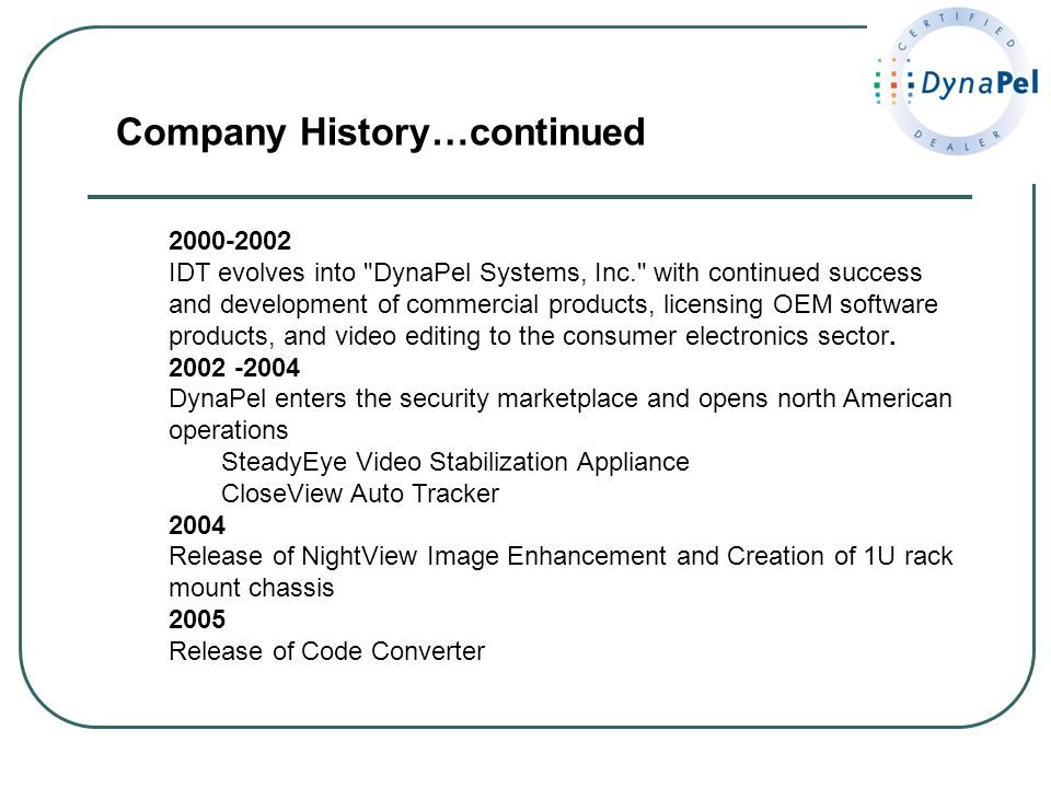 Company History…continued