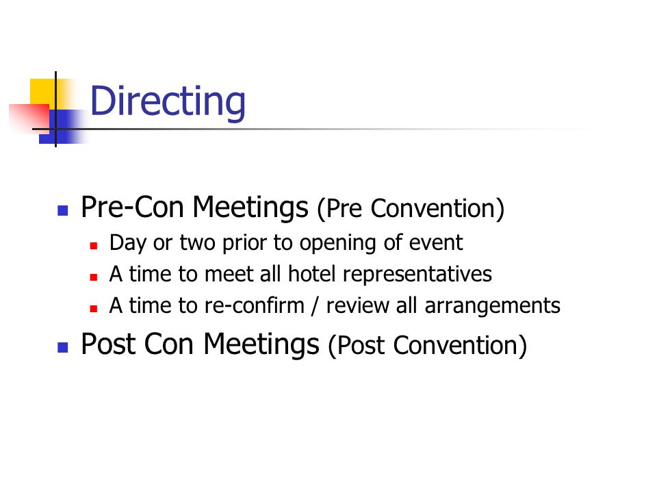 Directing Pre-Con Meetings (Pre Convention)