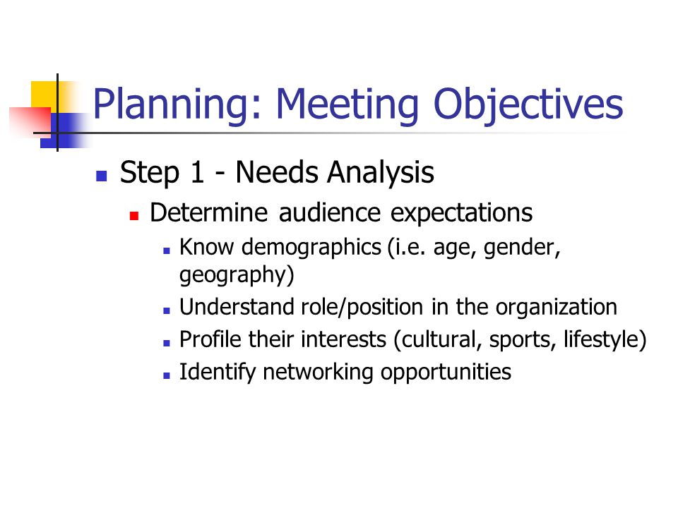 Planning: Meeting Objectives