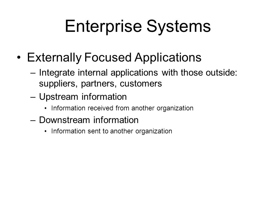 Enterprise Systems Externally Focused Applications