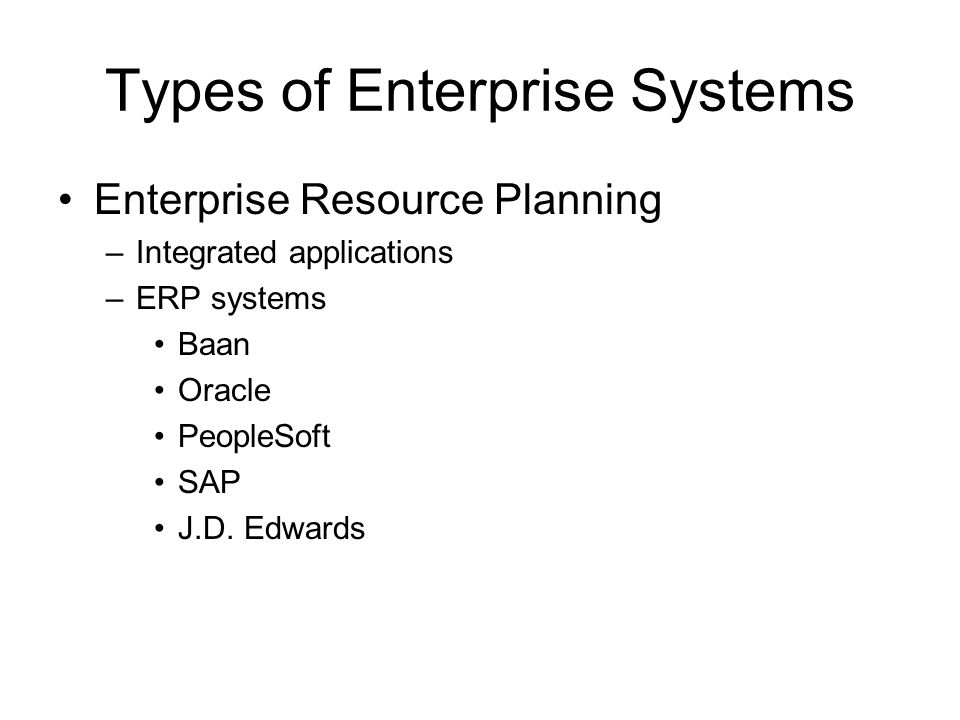 Types of Enterprise Systems