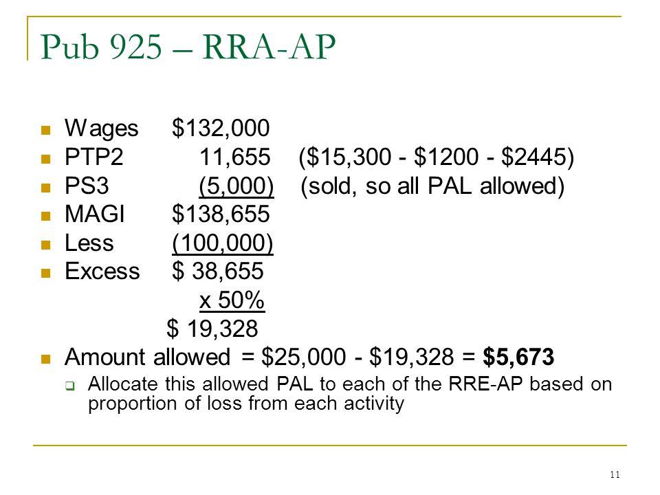 Pub 925 – RRA-AP Wages $132,000 PTP2 11,655 ($15,300 - $1200 - $2445)