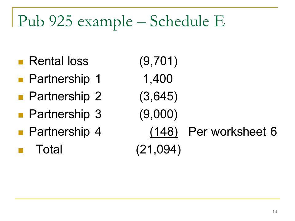 IRC 469 Passive Activities Part 5 last one ppt download – Schedule E Worksheet