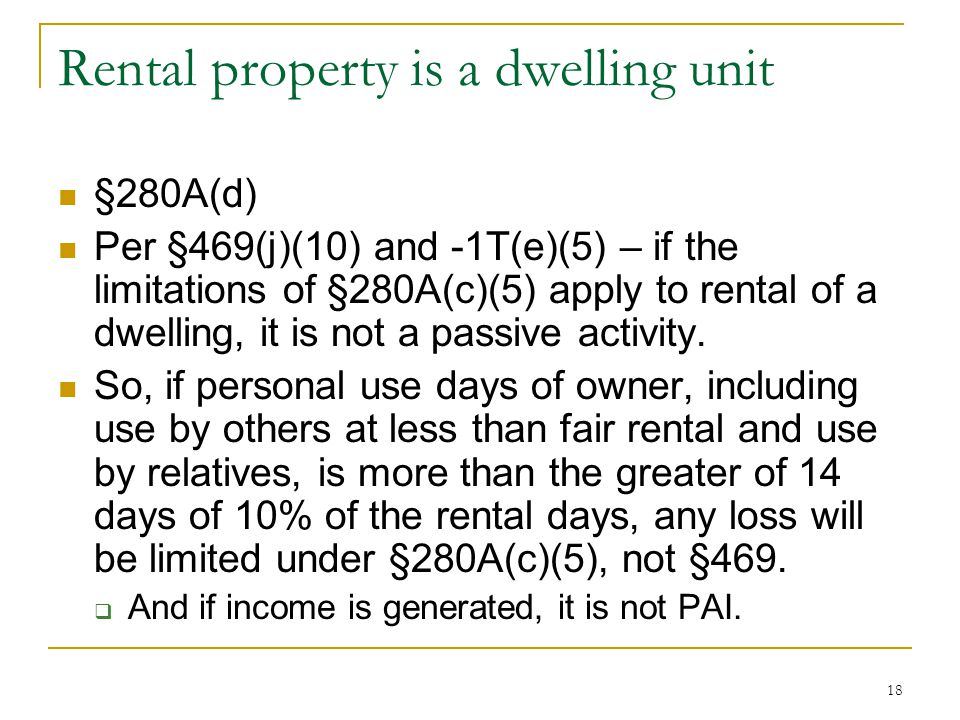 Rental property is a dwelling unit
