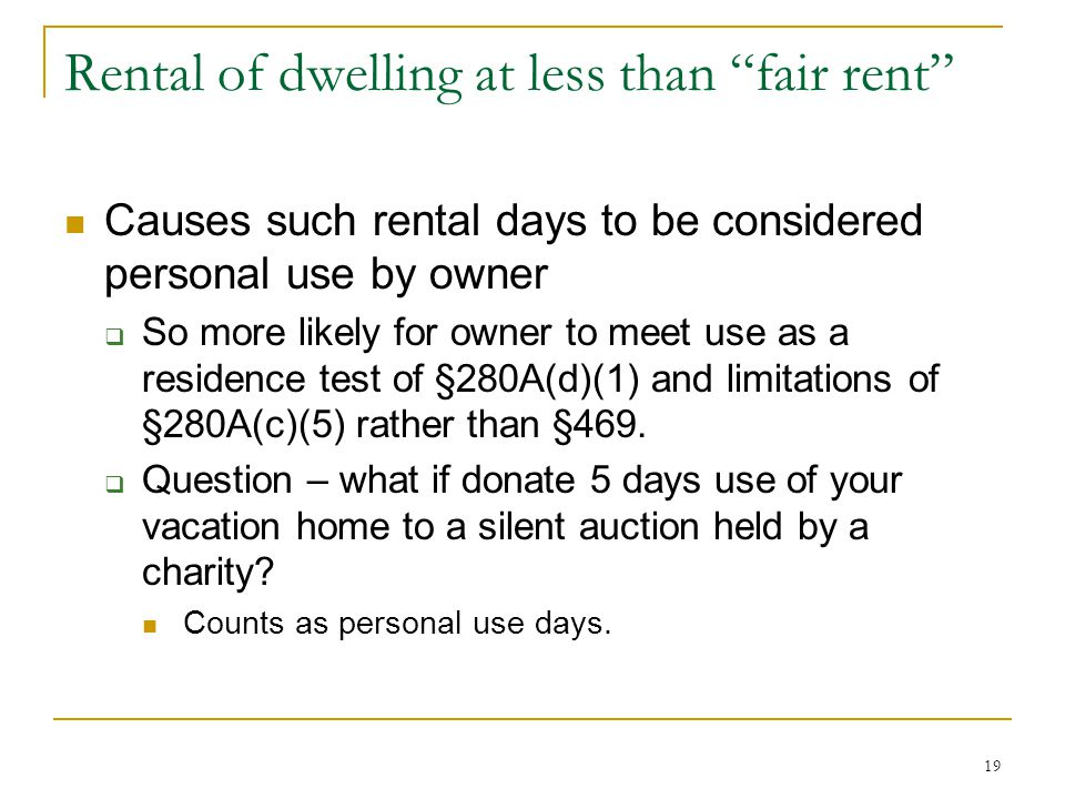 Rental of dwelling at less than fair rent