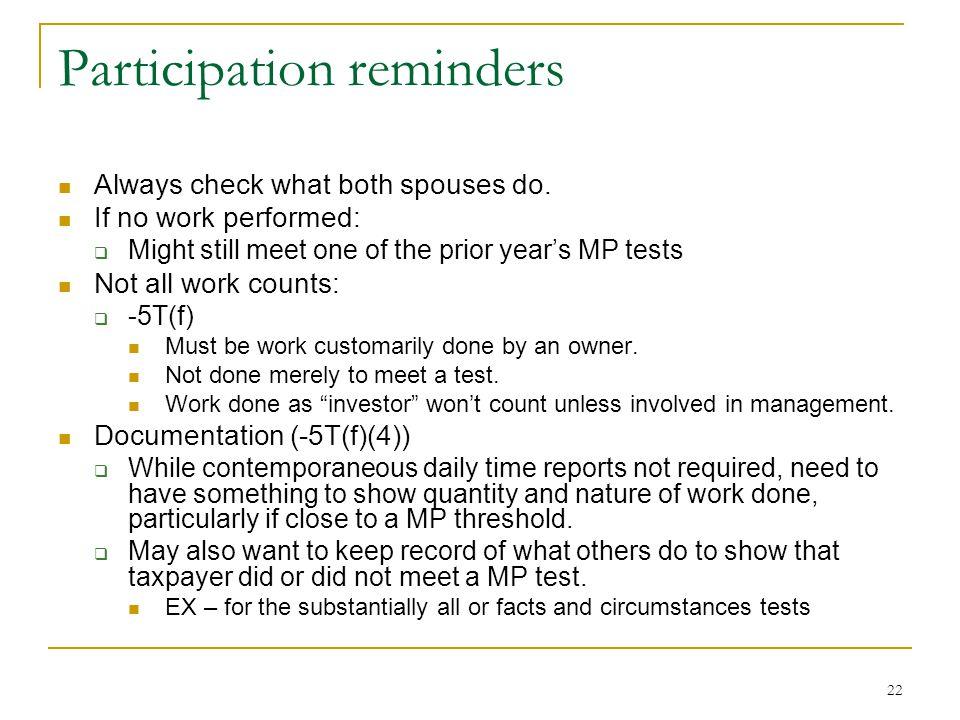 Participation reminders