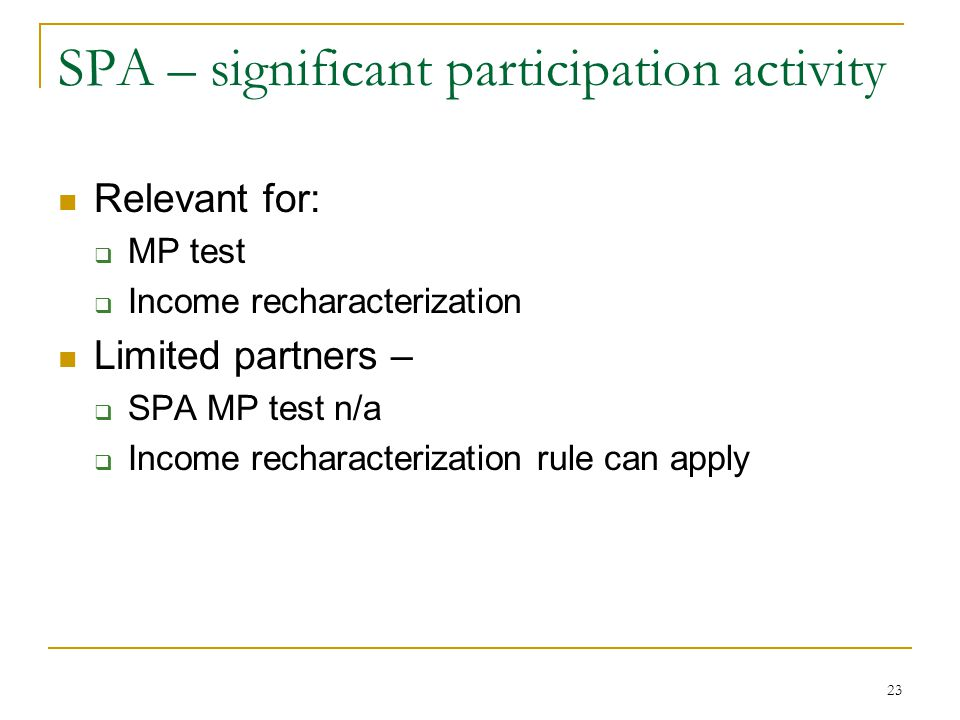 SPA – significant participation activity