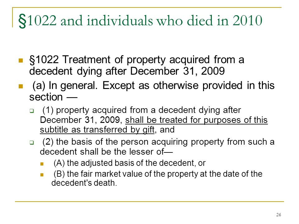 §1022 and individuals who died in 2010