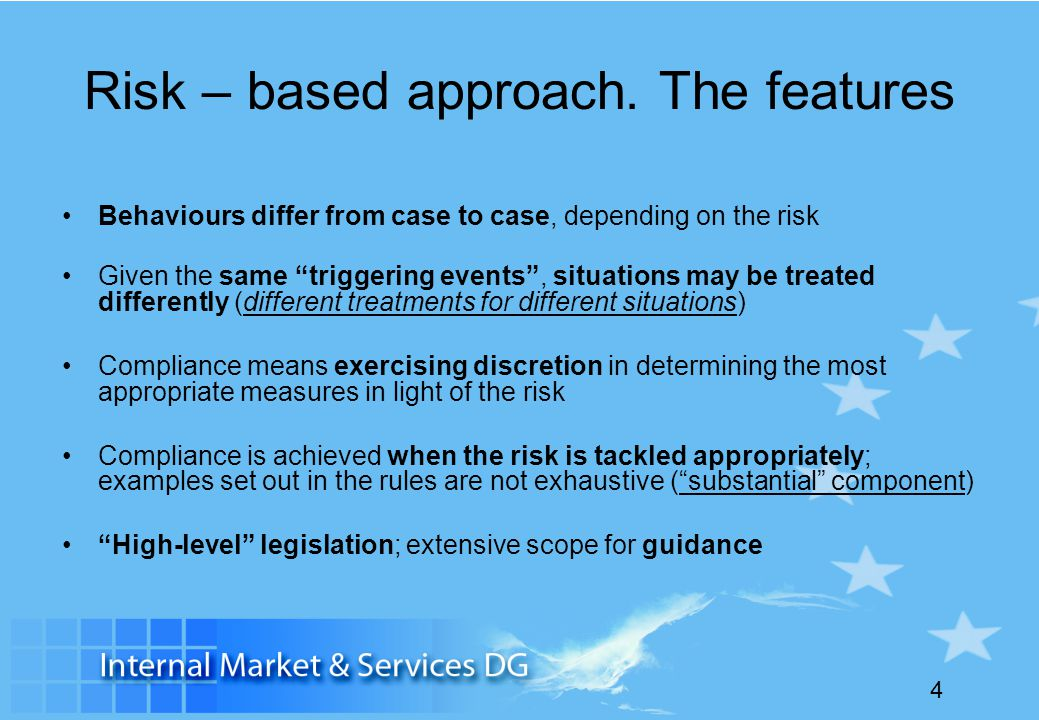 Risk – based approach. The features