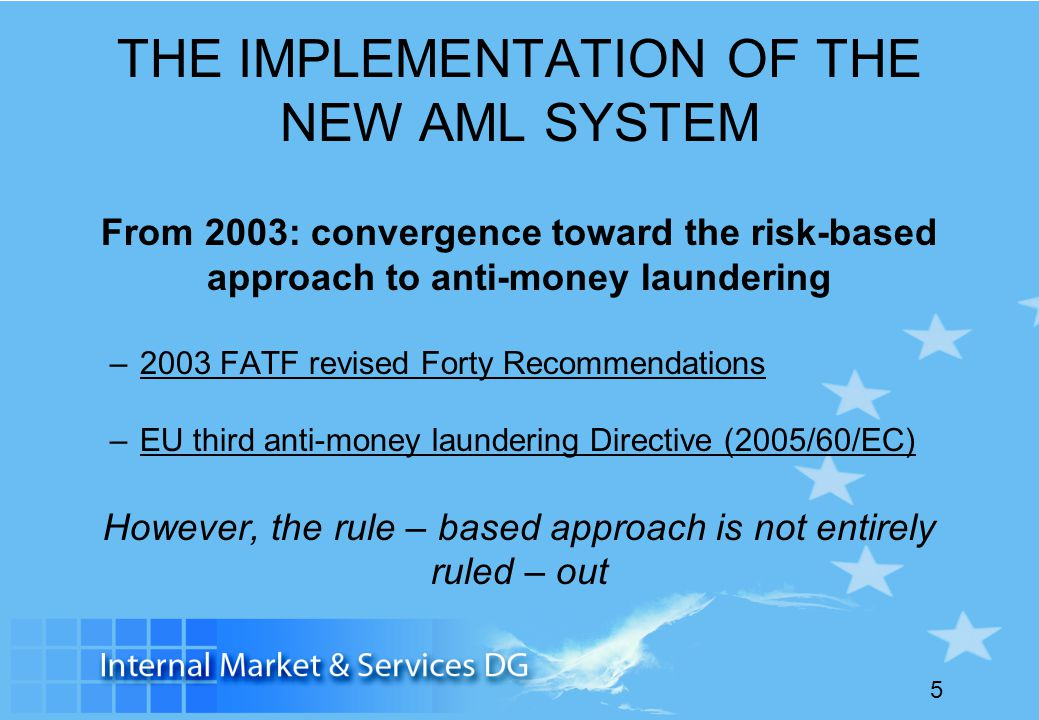 THE IMPLEMENTATION OF THE NEW AML SYSTEM