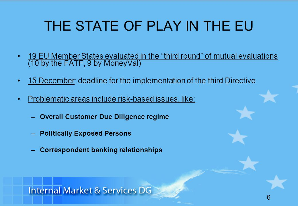 THE STATE OF PLAY IN THE EU