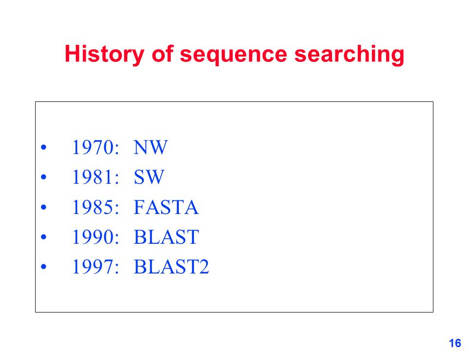 History of sequence searching