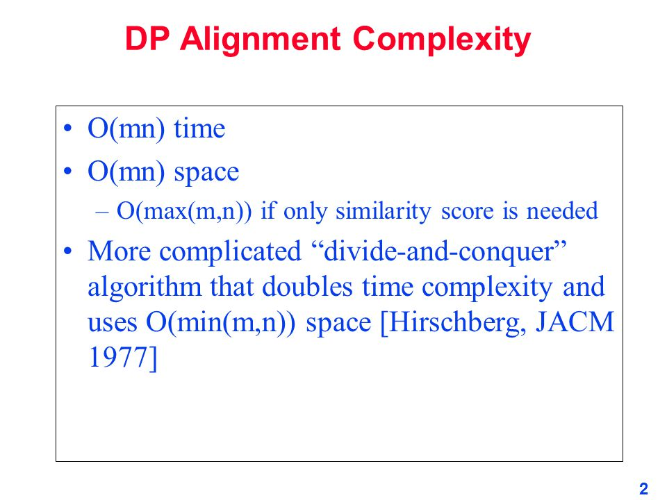 DP Alignment Complexity