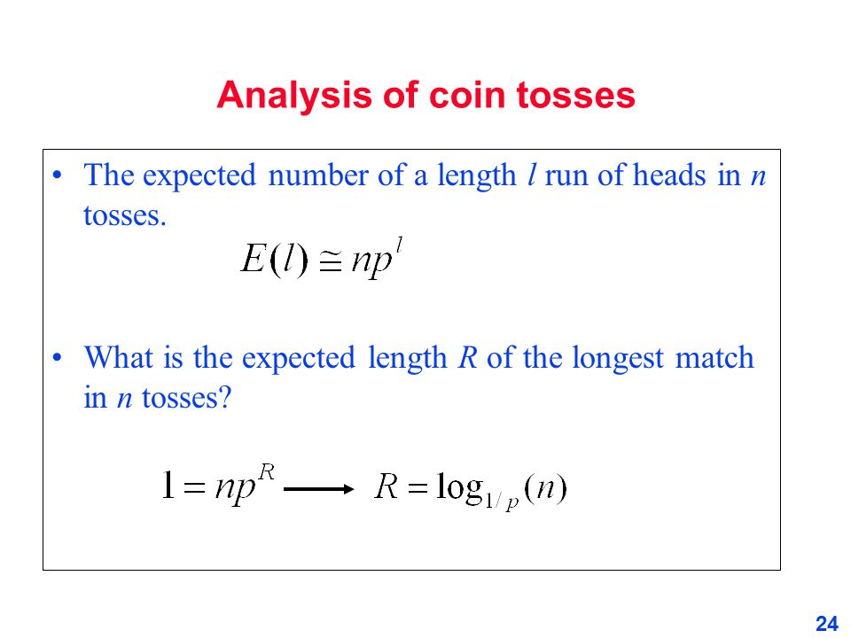 Analysis of coin tosses