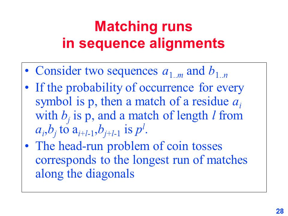 Matching runs in sequence alignments
