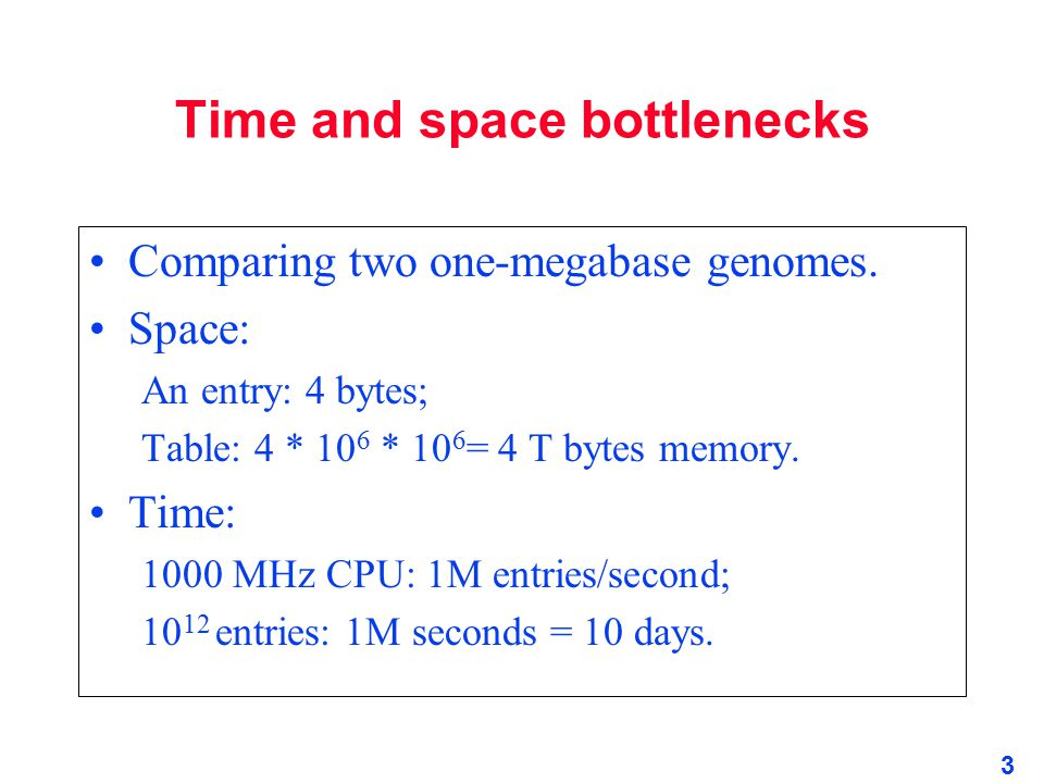 Time and space bottlenecks