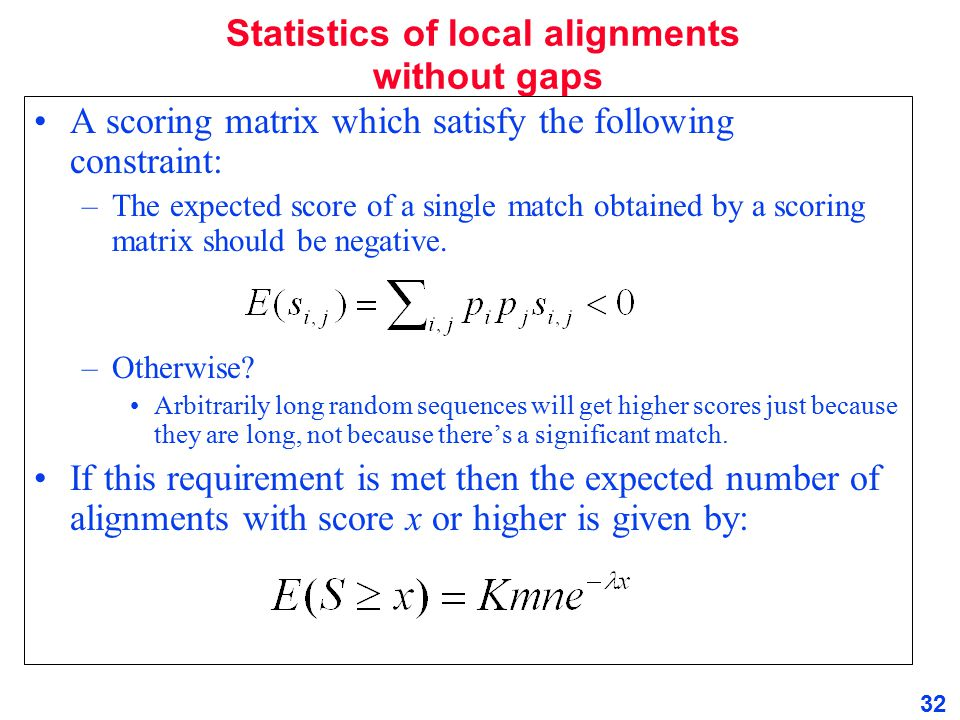 Statistics of local alignments without gaps