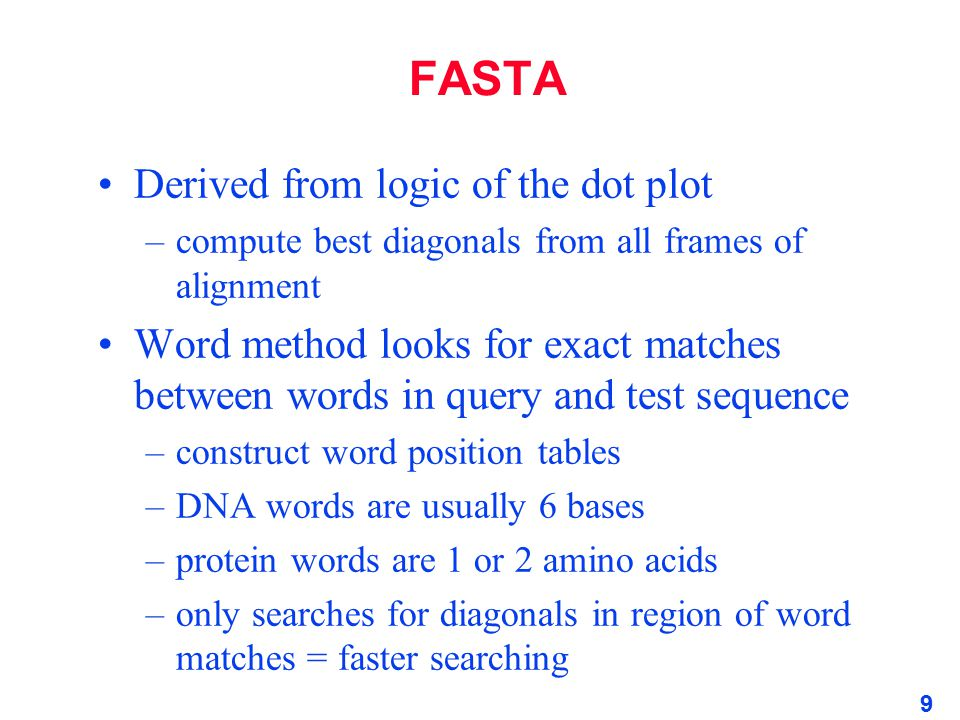 FASTA Derived from logic of the dot plot