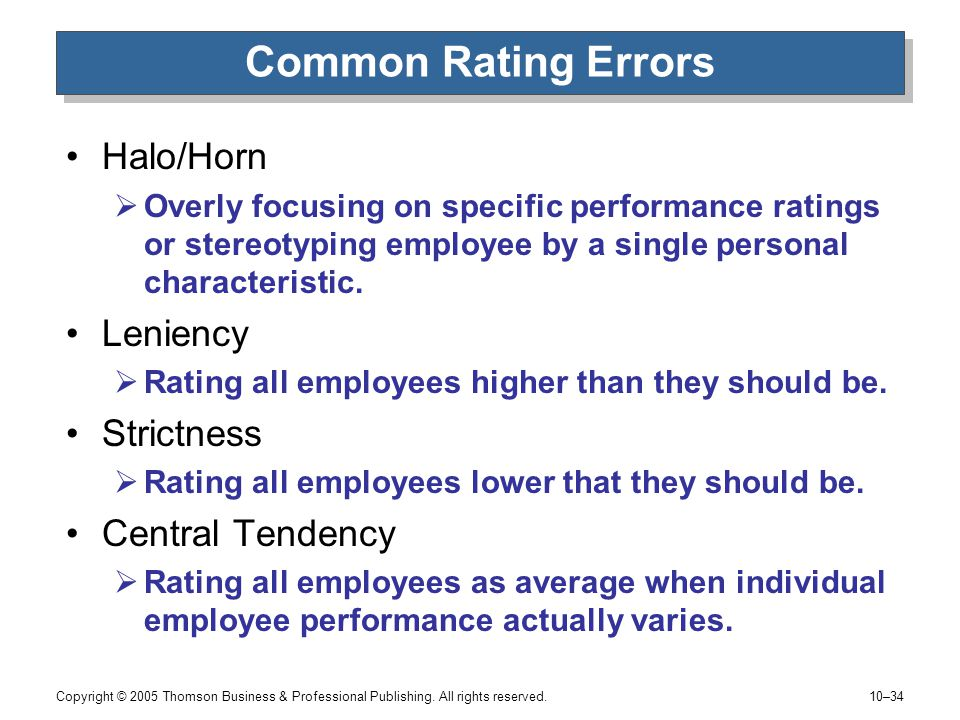 halo leniency central tendency recency effects and contrast effects 5 types of bias in a performance review  the halo effect is roughly defined as when a manager values a certain positive quality of an  central tendency bias.