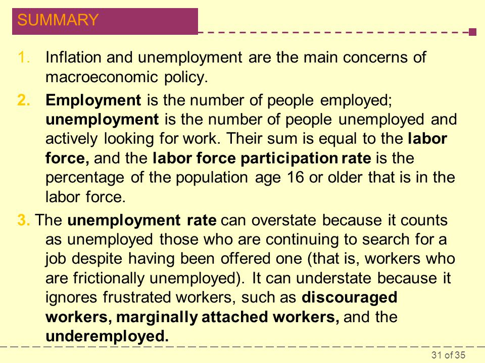 Inflation and unemployment are the main concerns of macroeconomic policy.