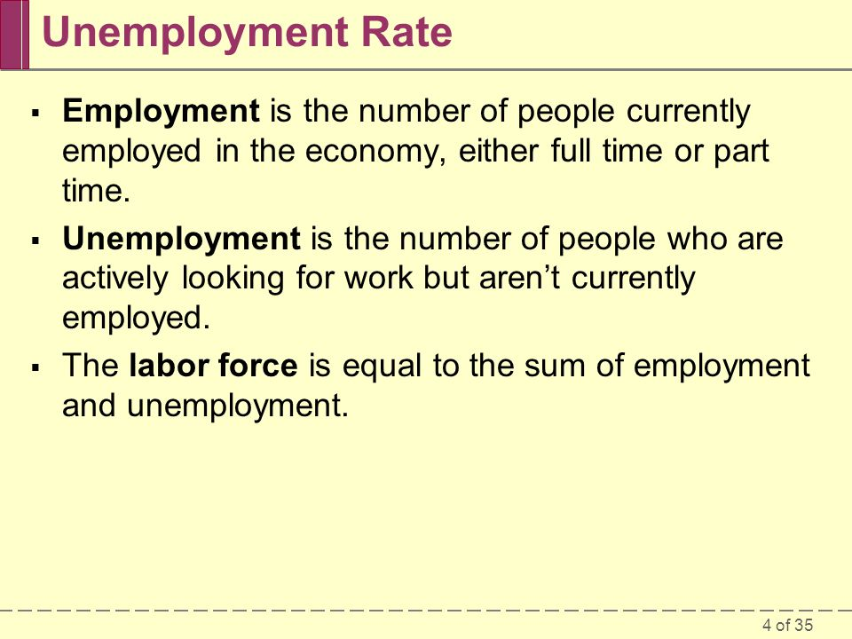 Unemployment Rate Employment is the number of people currently employed in the economy, either full time or part time.