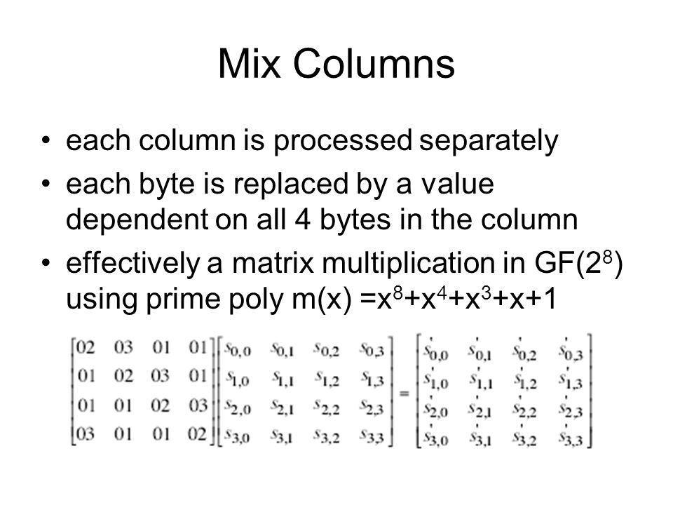 Mix Columns each column is processed separately