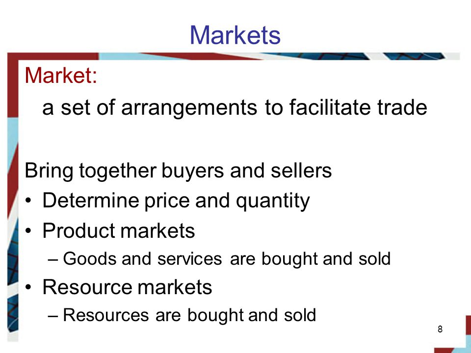 Markets Market: a set of arrangements to facilitate trade
