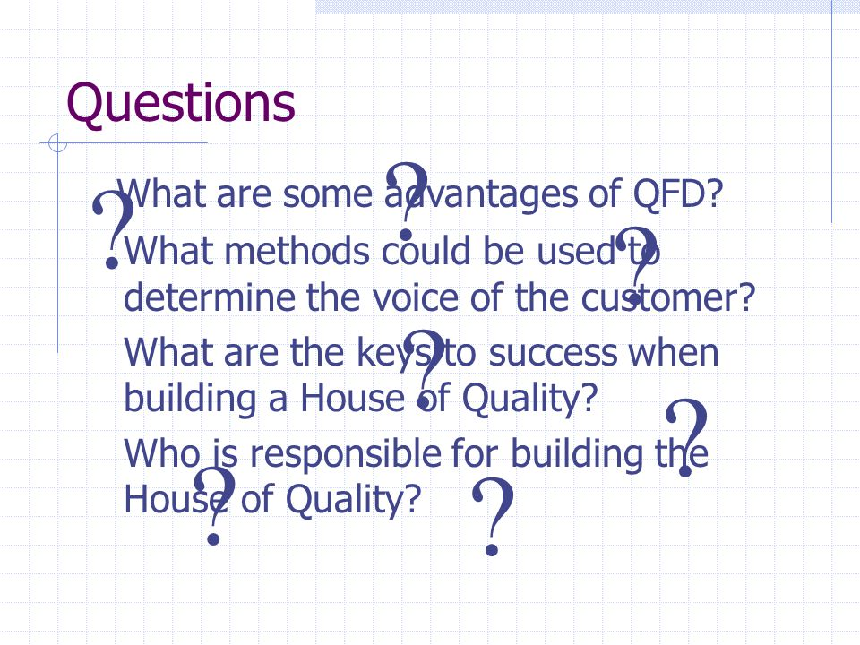 Quality function deployment ppt video online download for Questions to ask when building a home