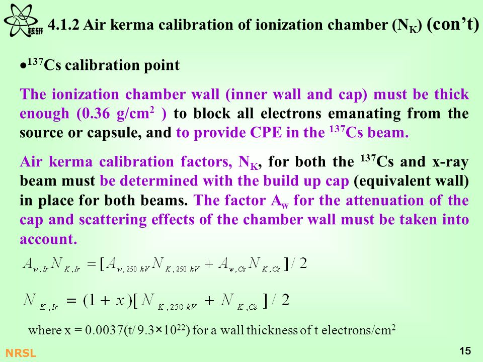 4.1.2 Air kerma calibration of ionization chamber (NK) (con't)