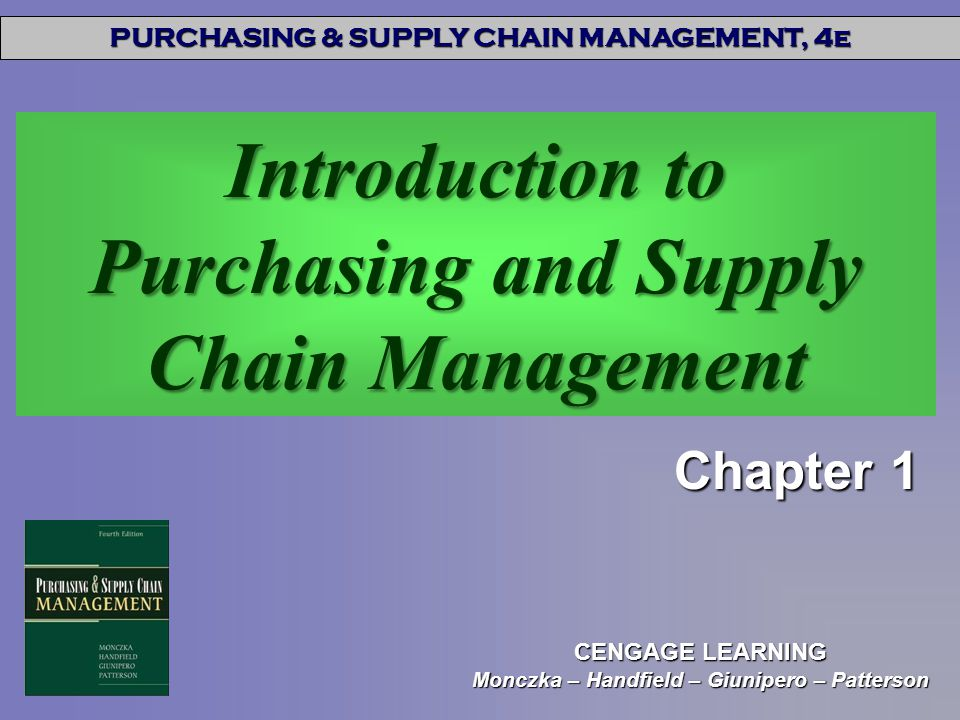 Introduction to Purchasing and Supply Chain Management