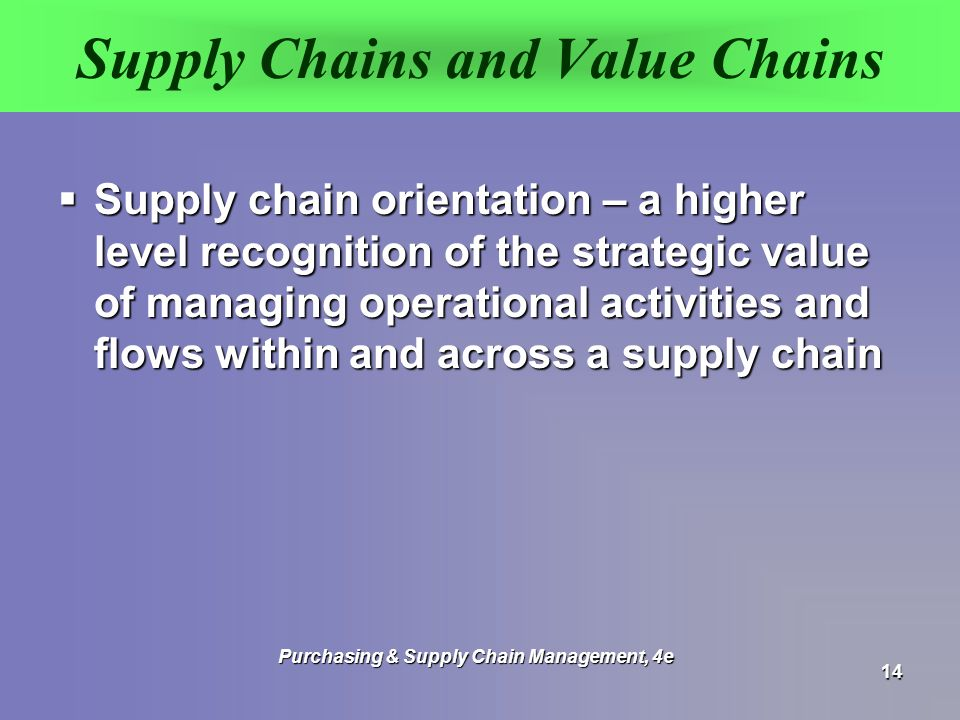 Supply Chains and Value Chains